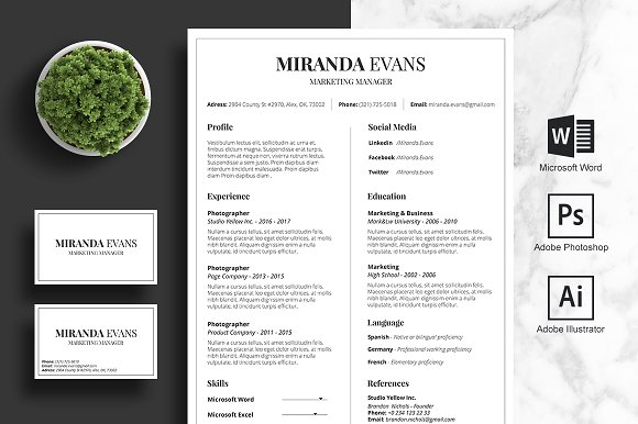 Clean Resume Business Card