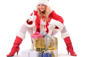 Santa girl with gifts