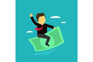 The businessman on money flies in the sky. Commercial profit success icon in the cartoon style.