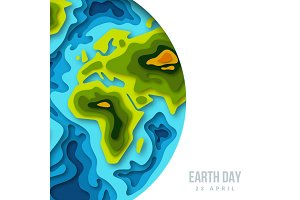 Earth planet, 3d paper cut banner