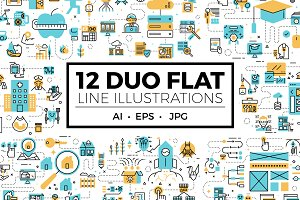 12 Duo Flat Line Illustrations