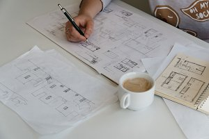 Female Architect Drawing Sketches
