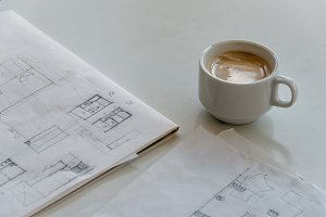 Coffee and Architect Drawings