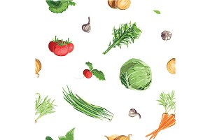 Fresh Vegetables Seamless Patterns