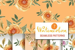 7  Watercolor seamless patterns