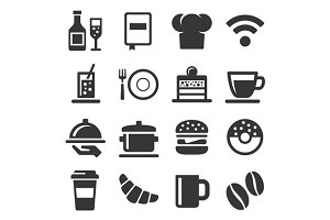 Cafe and Restaurant Icons Set