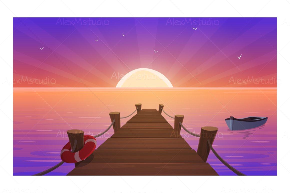 Cartoon Sunset At Pier Custom Designed Illustrations
