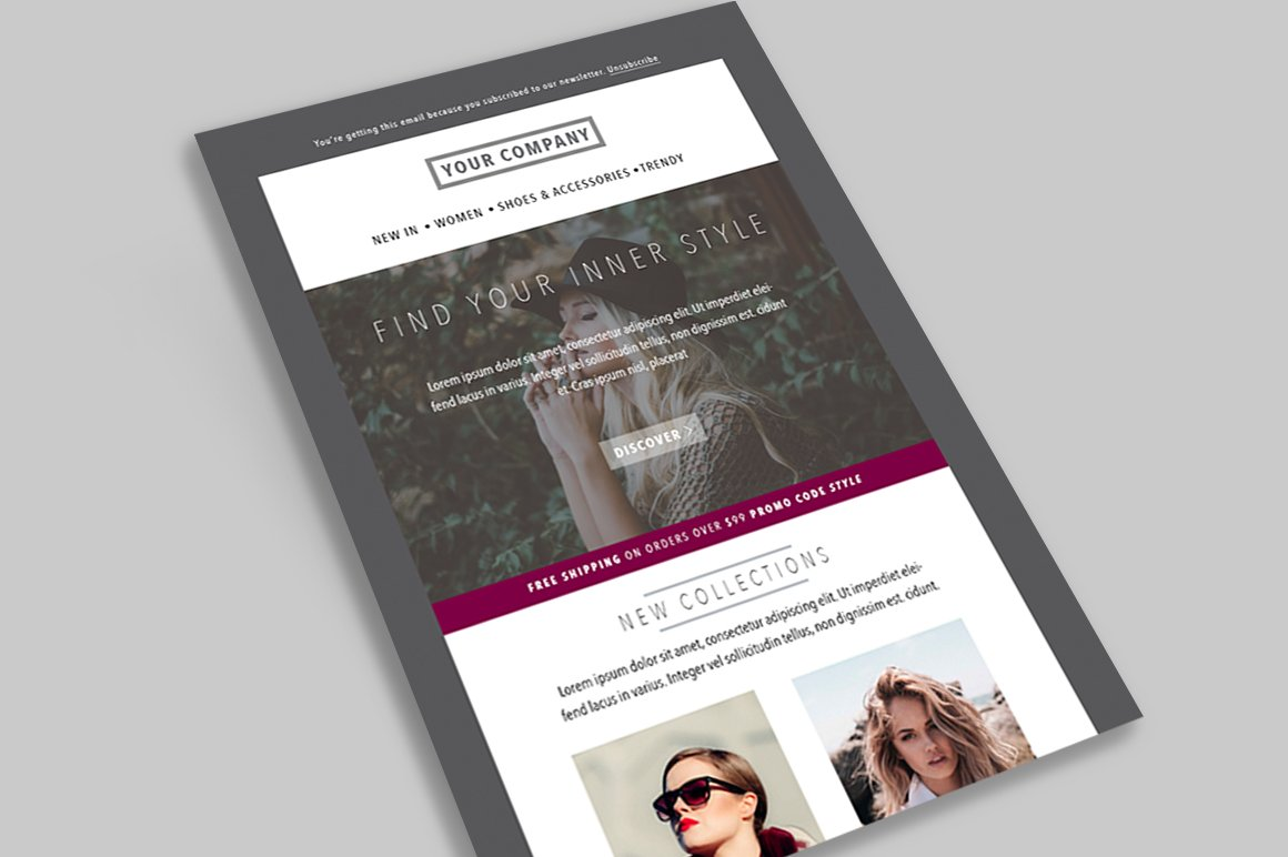 Fashion E-mail Newsletter 01 (PSD) ~ Email Templates ~ Creative Market