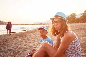Mother and son at Alanya beach