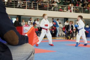 Martial art competitions- karate - judge coaches looking at female teenager's karate fighting