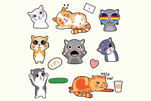 Cat emoticons - funny stickers