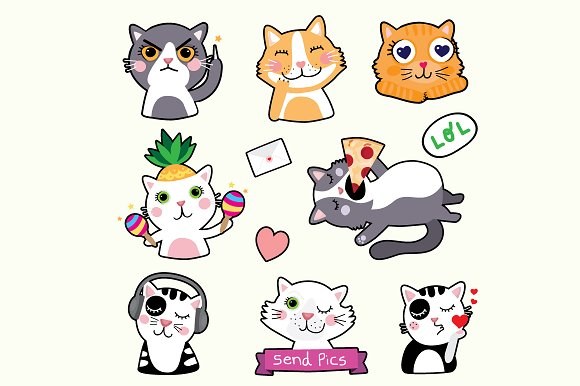 Cat Emoticons EPS Stickers