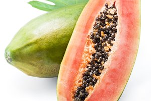 Papaya fruit isolated on a white