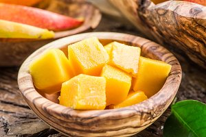 mango fruit in the wooden bowl.