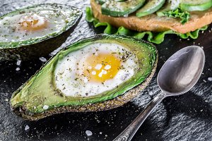 Chicken egg baked in avocado.