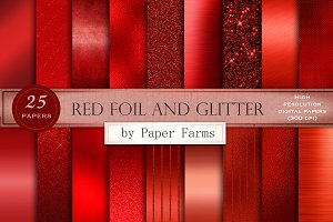 Red foil and glitter