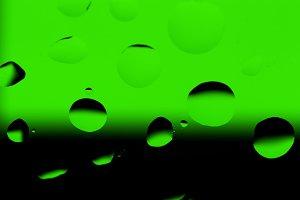Oil Drops on Black - Green