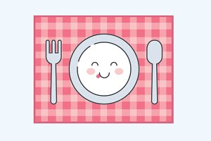 Cute Plate, Fork, Spoon - EPS