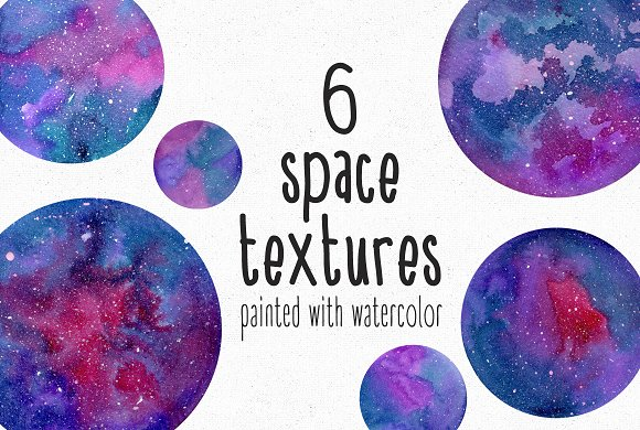 6 Watercolor Space Textures