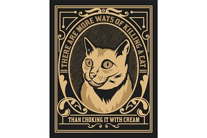 Cat label. Western style