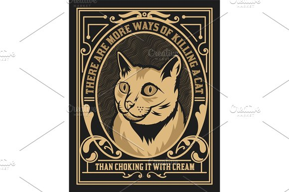 Cat Label Western Style