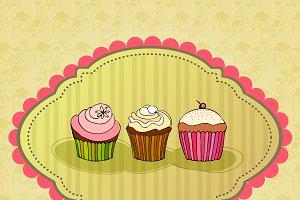 retro cupcakes card