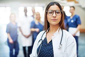 Pensive female medical worker in a hospital