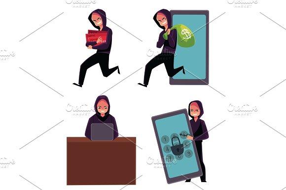 Hacker Using Laptop Stealing Credit Card Information Money Identity