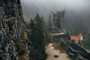 Abandoned Castle Ruins in the Forest