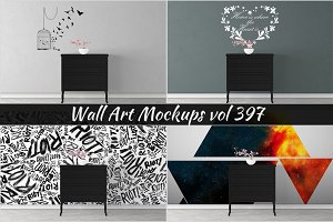 Wall Mockup - Sticker Mockup Vol 397