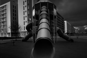 Empite slides in the park, empty city