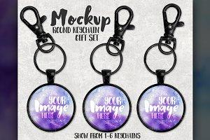 Black Round Keychain Set Mockup