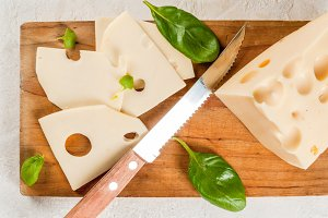Cheese with basil