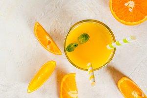 Orange juice with mint