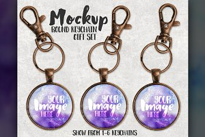 Round Copper Keychain Set Mockup