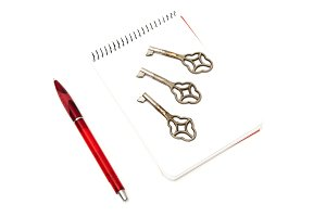 notepad with keys