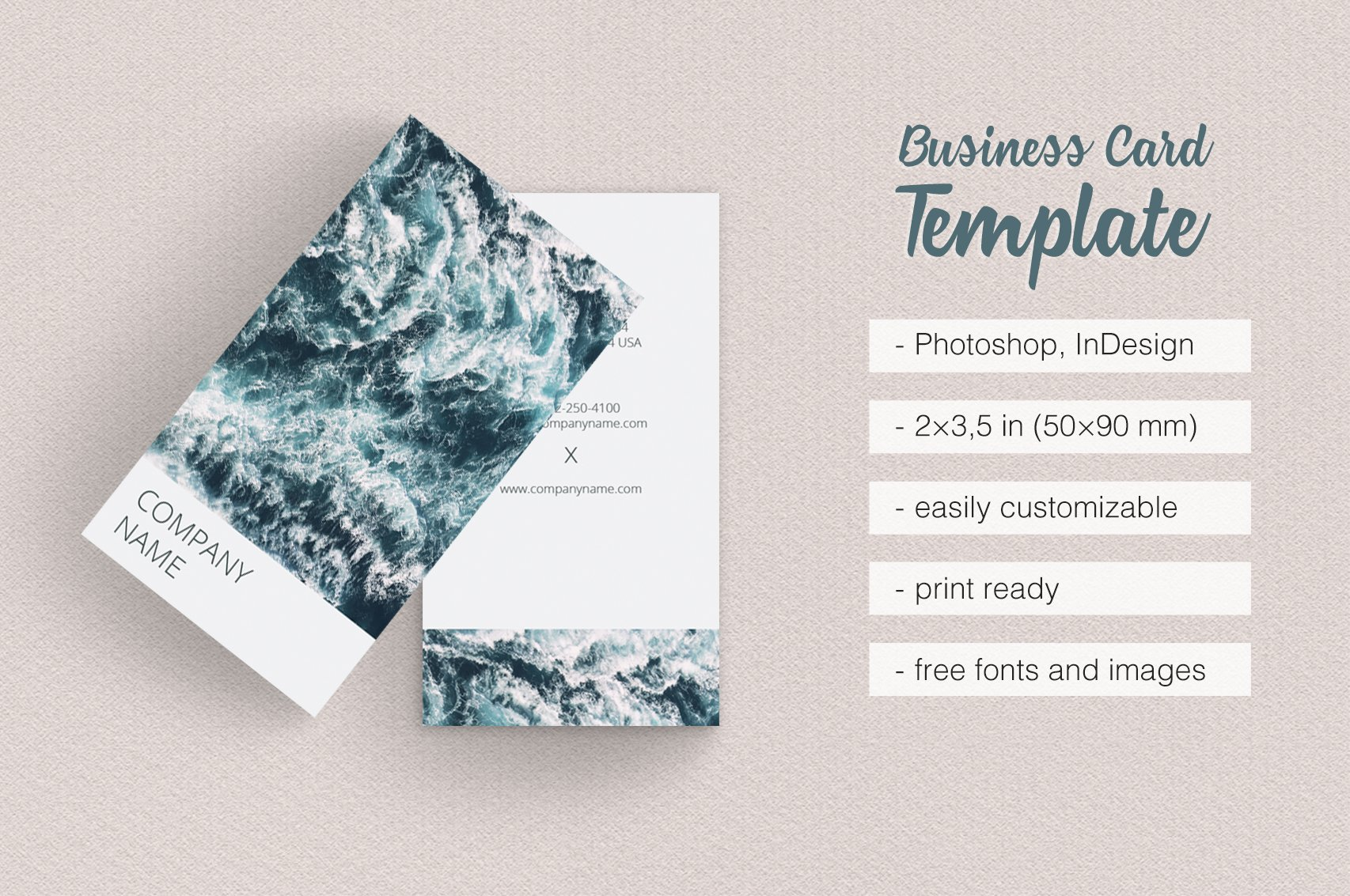 Vertical Photographer Business Card Business Card Templates - Indesign business card template free