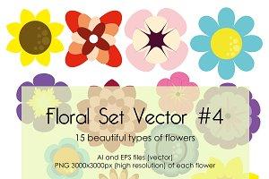 Floral Set Vector #4