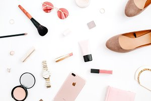 Styled pink flat lay background