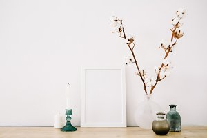 Photo frame and cotton branch