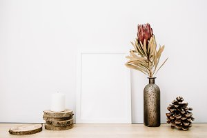 Photo frame and protea flower