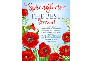 Vector springtime season poster blooming flowers