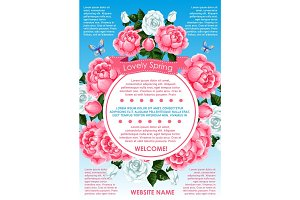 Spring flower frame for springtime holidays poster
