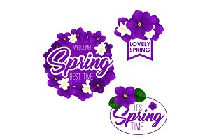 Spring season holiday badge set with flowers