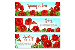 Vector spring time flowers on greeting banners set