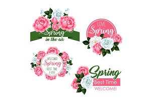 Vector spring time greeting quotes and flowers set
