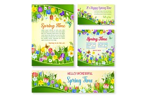 Spring flower greeting card and banner template