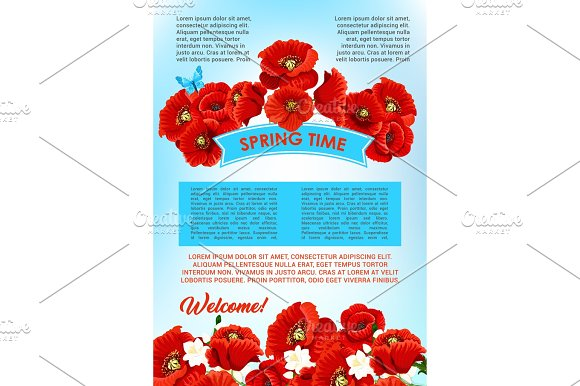 Vector Welcome Spring Floral Greeting Poster