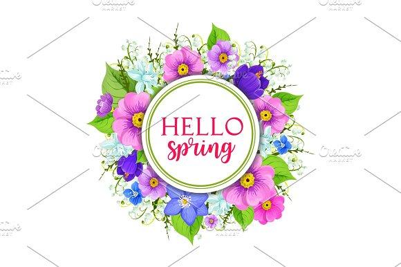 Hello Spring Floral Frame Greeting Card Design