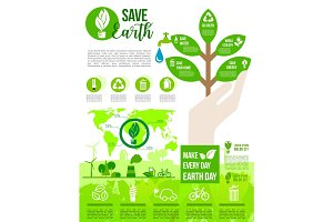 Earth Day and Go Green poster for ecology design